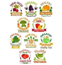 Farm fresh vegetables badge set for food design vector