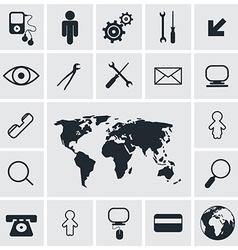 Flat Design Square Icons Set vector image
