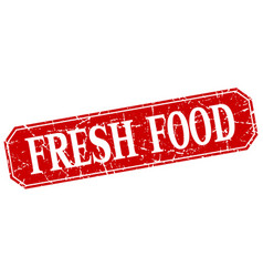 Fresh food red square vintage grunge isolated sign vector
