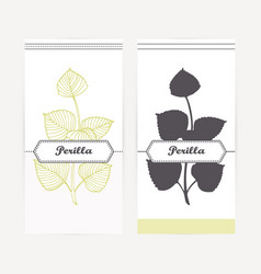 Hand drawn perilla in outline and silhouette style vector
