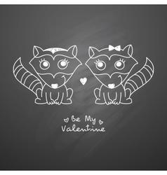 hand drawn raccoons vector image