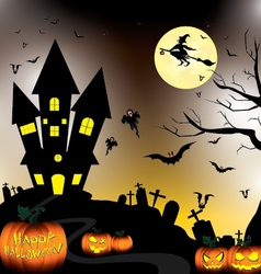 Happy halloween and pumpkin witch bats objects in vector