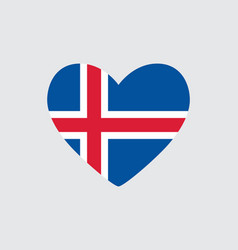 Heart in colors and symbols of the iceland flag vector