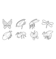 insects icon set outline style vector image