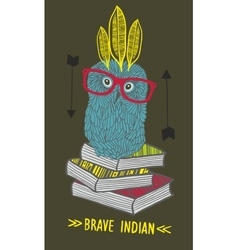 Little owl indian on the books vector