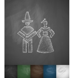 Mexican couple icon hand drawn vector