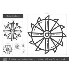 Mining tool line icon vector