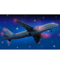 Modern airplane at night vector