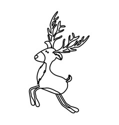 Monochrome contour of funny reindeer jumping with vector