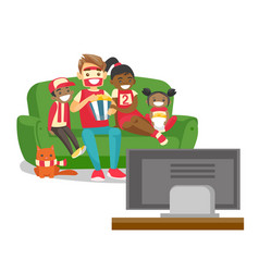 Multicultural family watching football match on tv vector