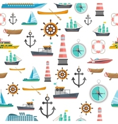 Nautical symbols vintage seamless pattern vector