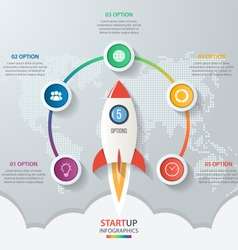 Startup circle infographics with rocket 5 options vector