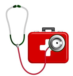 Stethoscope and first aid kit vector