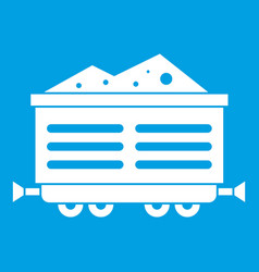 Train waggon with coal icon white vector