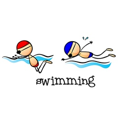Two boys swimming vector