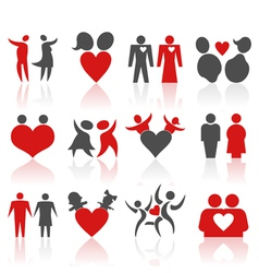 Valentines people icons vector