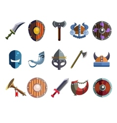 Viking cartoon weapon and equipment game icons vector