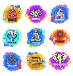 Vintage buddhism religion emblems set vector