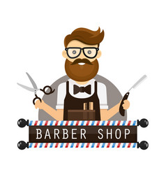 young hipster man barber flat vector image vector image