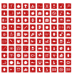 100 apple icons set grunge red vector