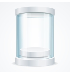 Round Empty Glass Showcase for Exhibit vector image