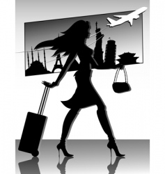 Travel girl silhouette vector
