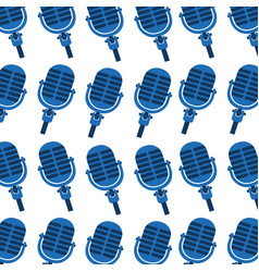 blue microphone instrument seamless pattern image vector image