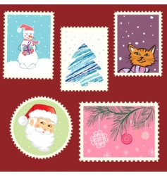Winter postage set vector