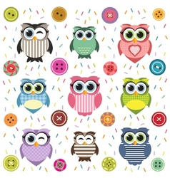 Background with cute textured owls vector