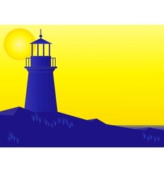 Lighthouse at sunrise vector