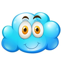 Blue cloud with happy face vector