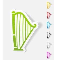 Realistic design element harp vector