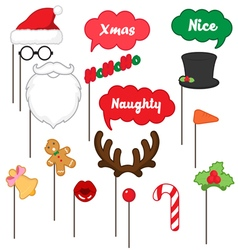 Photo booth props for merry christmas vector