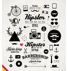 Hipster label set vector