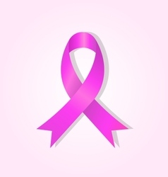 Pink awareness ribbon on pink glow background vector