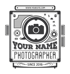 Retro vintage logotype of old camera vector