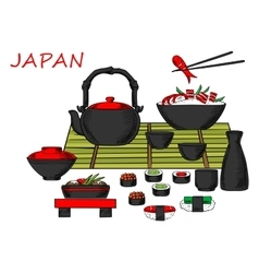 Japanese seafood and drinks set vector