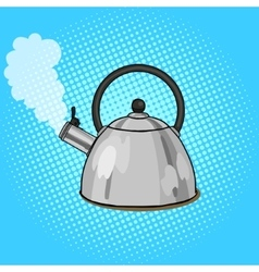 Kettle boils with water pop art style vector