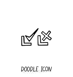 Doodle check mark icons symbols for yes and no vector