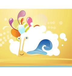 Funny snail on abstract background vector