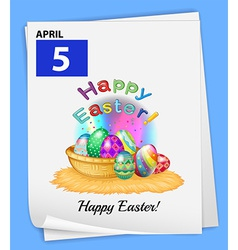 A calendar showing the 5th of april vector