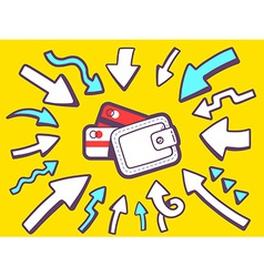 Arrows point to icon of money purse on ye vector