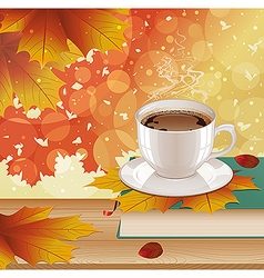 Background with hot coffee and autumn leaves vector
