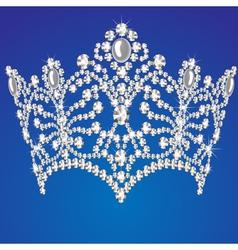 beautiful diadem feminine wedding on blue backgrou vector image vector image