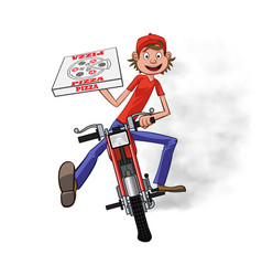 boy working the pizza delivery riding on red vector image