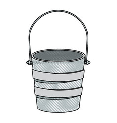 Colored pencil silhouette metallic bucket vector