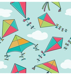 Colorful kites seamless pattern vector