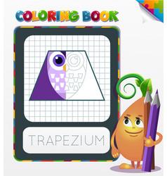 Coloring book geometric form trapezium vector