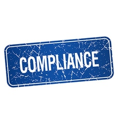 Compliance blue square grunge textured isolated vector