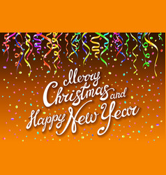 festive card with sparkle calligraphic lettering vector image vector image